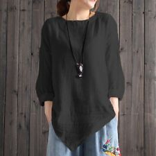 d47a90be941a70 Women Vintage Cotton T Shirt Linen Long Sleeve Baggy Casual Loose Blouse  Tops