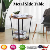 2-Tier Industrial Retro Coffee Small Round Metal Sofa Side End Table Tray