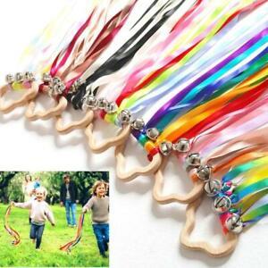 Rainbow Hand Bells Ribbon Streamer Wand with Jingle Bells Montessori Sensory Toy