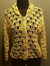 PURE Handknit 100% Cotton Lime Green Crocheted Mesh Knit Rose Button Sweater S/M