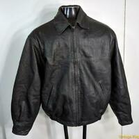 OUTBROOK Pebbled Soft LEATHER JACKET Mens Size M Black zippered insulated
