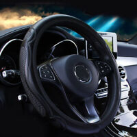 Black Car Steering Wheel Cover Quality Leather Breathable Anti-slip 15''/38cm