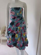 Blue Silk Bubble Hem Evening Prom Party Dress Flowers Monsoon Size 8 with straps