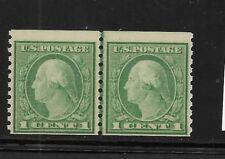 US Scott #452 mint coil guide line pair 1c green Washington lh og f/vf 1914