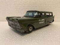 Vintage U.S. Army (6125647) Toy Ford Station Wagon RARE Tin Litho Friction Car