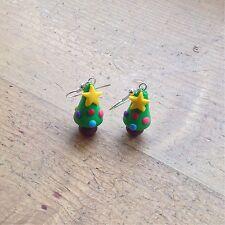 Christmas Tree earrings Drops Festive Handmade Cute Party Gift Clay Fimo