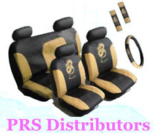 CAR SEAT COVERS BEIGE BLACK Synthetic Leather DRAGON Seat Covers in 11 Pieces