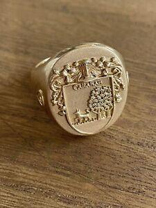 Men's gold callahan signet ring 19.5 Gram with triune citrine stones 14k size 16