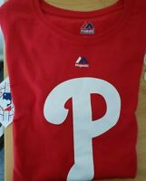 New Red Philadelphia Phillies Youth Kids Boys T Shirt Large L Majestic 14/16
