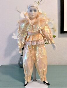 """CLOWN DOLL, UNBRANDED, 15"""" TALL WITH PORCELAIN HEAD, HANDS, AND FEET/SHOES"""