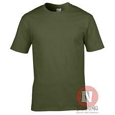 Verde Militar Algodón Grueso Unisex Ajuste Estándar Camiseta Gildan Marca Nuevo