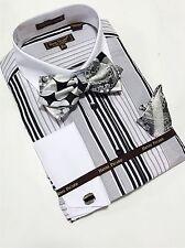 Men's Henri Picard French Cuff Dress Shirt Black BOWTIE Hanky Set FC137B