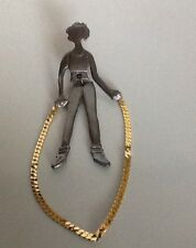 """4"""" Signed Ultra Craft pewter girl jumping jump rope gold Dangle rope, legs move"""