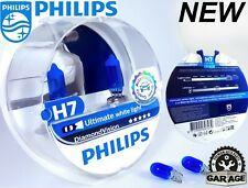 H7 Philips Diamond Vision 5000K White Car Headlight Bulbs 12V 55W + Blue W5