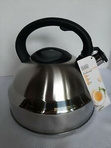 New Stainless Steel 5.3 qt. Whistling Tea Kettle Black+Decker