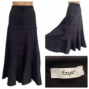EZYA Black Canvas Tiered Gipsy Long Maxi Skirt Size 20 UK