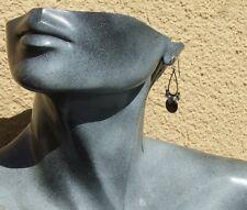 BLACKSTONE SILVER EARRINGS  925 Silber facettierter Onyx große lange Ohrringe