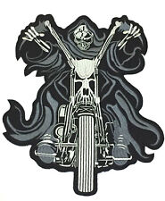 """Large Grim Reaper 10""""x8.5"""" Back Motorcycle Riding Biker Jacket Sew Iron On Patch"""