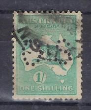 Australia 1915 1/- One Shilling Kangaroo Third Wmk perfin OS  SG O25 Used