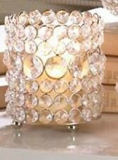 Crystal Bead - Brilliant Gems - Iron and Glass - Candle Holder - 5in