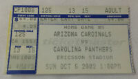 October 6, 2002 football ticket stub ~ ARIZONA CARDINALS vs CAROLINA PANTHERS
