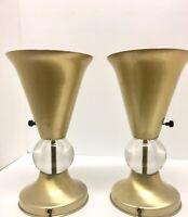 Pair Art Deco Machine Age Uplight Table Lamps Gold Over Spun Aluminum Glass Ball