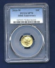 2016-W Gold Mercury Dime, Certified PCGS SP70 - 100th Anniversary, Cherry Picked