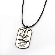 Death Note Collier Pendentif Métal Dog Tag Logo & L Lawliet Light Yagami