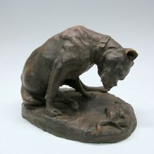 Antique signed terracotta sculpture of Boxer dog with frog study for bronze
