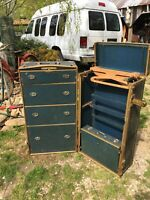 VINTAGE Antique WARDROBE Steamer Trunk w/Drawers HANGERS LUTZ CO