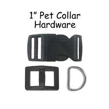 10 Black Dog Collar Hardware Kit - 1 Inch Curved Buckle, Slide Adjuster, D-Ring