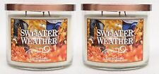 2 Bath & Body Works Sweater Weather 3-Wick Filled Candle 14.5 oz