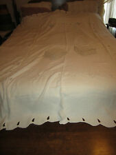 Vintage Handmade Cutwork Embroidered Cream Linen Table Cloth 8 Napkins Tulips