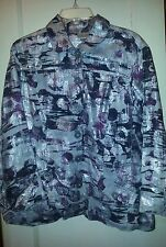 Chico's Linen Jean Jacket Purple Silver Size 2 Large