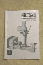 TOYO Mini-Lathe ML-360 Instruction Manual