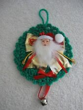 Green Crochet Wreath Santa Face Red Ribbon with Bell Ornament