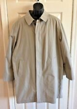Stafford Beige Cotton Blend Mens Overcoat w/ Black insulated Zip Out Liner Sz L
