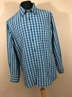 Tommy Bahama XL Shirt BLue Checkered Plaid Button Down Front Mens Long Sleeve P1
