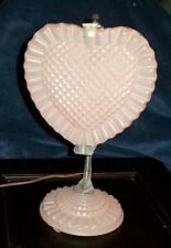A HEART SHAPED PINK DEPRESSION GLASS DRESSER VANITY LAMPS BY A F KLINGBERG