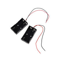 """2 pcs Plastic Battery Storage Case Box Holder for 2 x AA with 6"""" Wire Lead GX"""