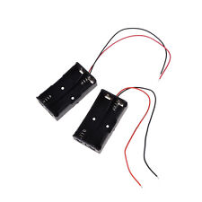 """2 pcs Plastic Battery Storage Case Box Holder for 2 x AA with 6"""" Wire Lead LJ"""