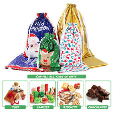 Christmas Gift Bags Aluminum Foil Party Present Drawstring Xmas Candy Favour Bag
