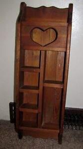 Vintage Handmade Lovely Wooden Heart Wall 5 Tier Shelf Country Wall Display