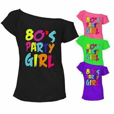 80s Party Girl T Shirt Top Off Shoulder Ladies Womens Retro Tee Outfit 6830