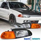 For 1992-1995 Honda Civic 23 Door Eg Black Headlights Amber Corner Lamp 92-95