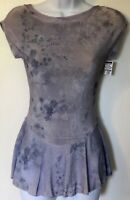 GK CAP SLEEVE ICE FIGURE SKATE LADIES X-SMALL ACETATE LAVENDER PRINT DRESS AXS