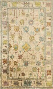 Geometric Ivory Oushak Oriental Area Rug Hand-knotted Indoor/ Outdoor Carpet 5x8