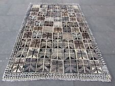 Old Traditional Hand Made Persian Oriental Gabbeh Rug Wool Brown Beige 220x155cm