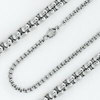 "3MM Solid Stainless Steel Silver smooth rounded box chain 24"" and 30"" Inches"