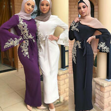 Fashion Muslim Women Embroidery Abaya Slim Cocktail Bodycon Dress Maxi Long Gown